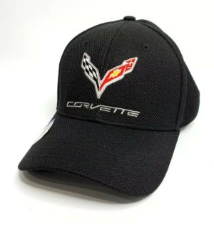 Chevy C7 Corvette Hat / Cap - Black Flexfit Style w/ Flags Script Emblem