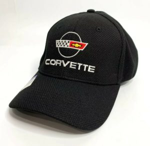 Chevy C4 Corvette Hat / Cap - Black Flexfit Style w/ Flags Emblem