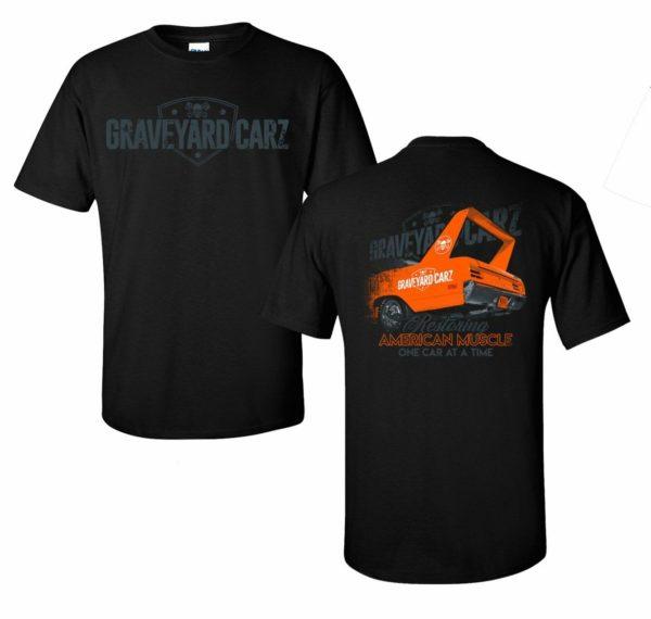 Graveyard Carz T-Shirt - Black w/ Orange Plymouth Superbird - American Muscle