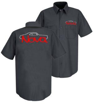 Mechanic Style Button Up Shirt w/ 1968-1974 Chevrolet Nova Emblem / Logo