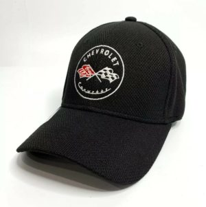 Chevy C1 Corvette Hat / Cap - Black Flexfit Style w/ Crossed Flags Emblem