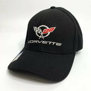 Chevy C5 Corvette Hat / Cap - Black Flexfit Style w/ Crossed Flags Emblem
