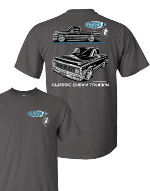 1971-1972 Chevy C10 Cheyenne Pickup T-Shirt - Gray w/ Black Trucks (Licensed)