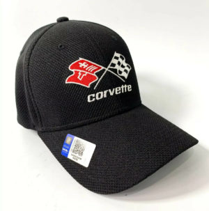 Chevy C3 Corvette Hat / Cap - Black Flexfit Style w/ Crossed Flags Emblem