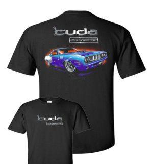 Black T-Shirt w/ Blue 1971 Plymouth Cuda & Logo / Emblem (Licensed
