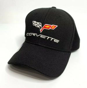 Chevy C6 Corvette Hat / Cap - Black Flexfit Style w/ Flags Emblem & Script