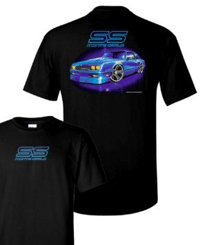 Chevy Monte Carlo T-Shirt - Black w/ Blue 1980's Car & Logo / Emblem (Licensed)