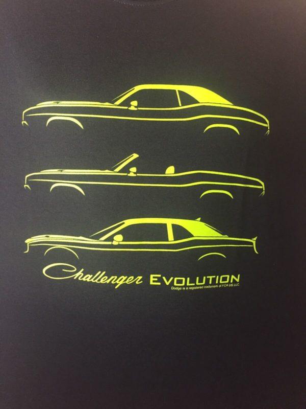 Black T-Shirt w/ Green 1970-2017 Dodge Challenger Models Evolution (Licensed)