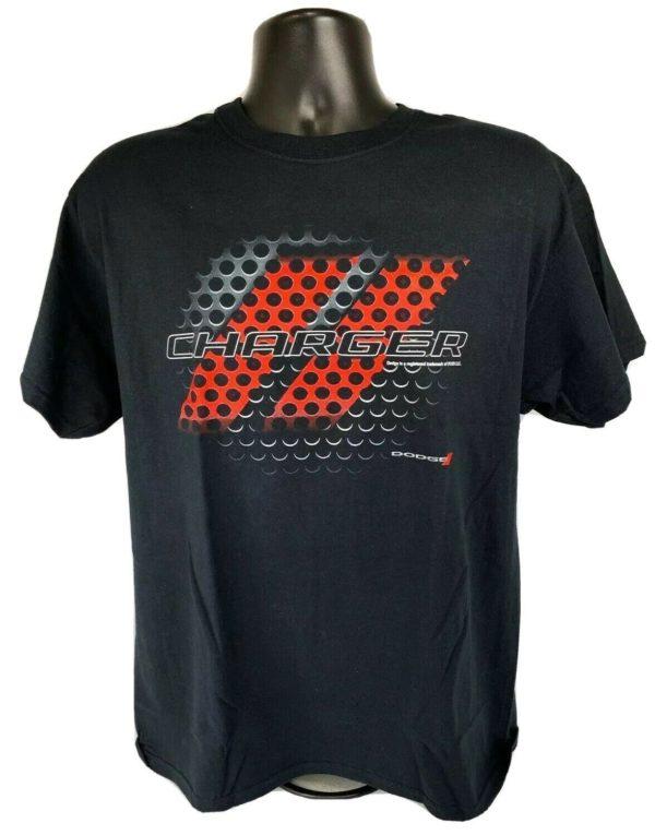 Black T-Shirt w/ Red & Black Dodge Charger Grill Emblem / Logo - Licensed