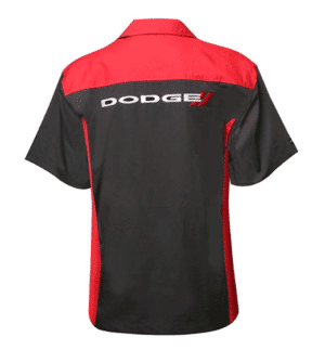 Mechanic Style Button Up Shirt - Black & Red W/ White & Red Dodge Emblem