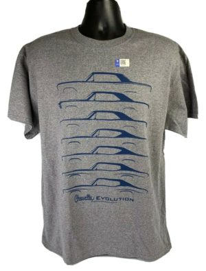 Chevrolet Chevelle Evolution T-Shirt - Gray w/ Blue Generation Body Styles