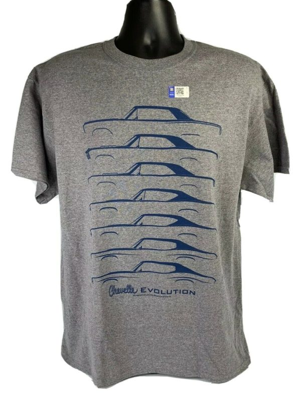Chevrolet Chevelle Evolution T-Shirt - Gray w/ Blue Generation Body Styles