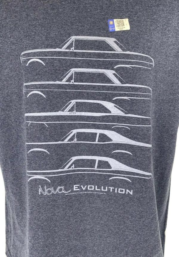 Chevy Nova Evolution T-Shirt - Light Heather Navy w/ Generation Body Styles
