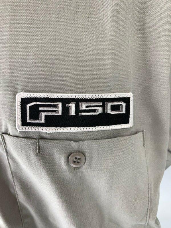 Mechanic Style Button Up Shirt - Gray w/ Blue Ford Oval & Black F-150 Emblem
