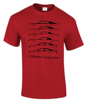 Red T-Shirt w/ Black 1966-2019 Dodge Charger Evolution Models (Licensed)