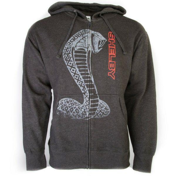 Shelby Cobra Zip Up Hoodie Jacket - Gray w/ Snake Emblem & Red Script - Licensed
