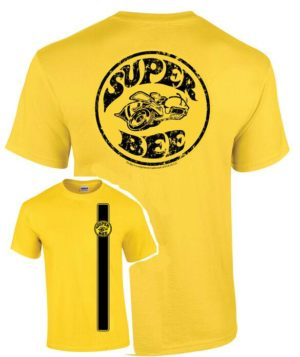 Dodge Super Bee T-Shirt - Yellow w/ Racing Stripe & Emblem