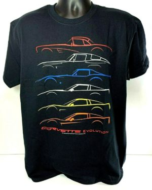 Chevrolet Corvette T-Shirt - Black w/ 1953-2019 Models Evolution (Licensed)
