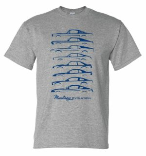 Ford Mustang T-Shirt - Gray w/ Blue 1964-2019 Generations Evolution (Licensed)