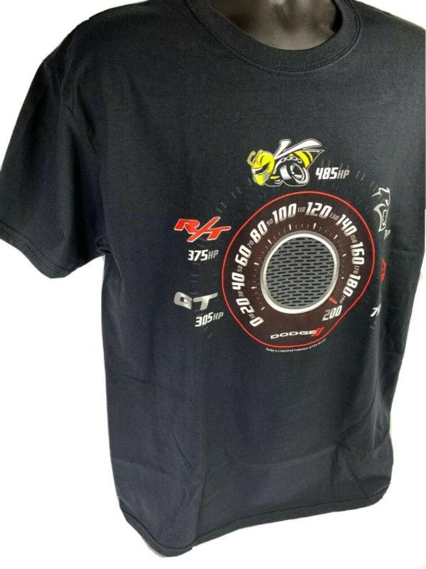 Black T-Shirt w/ Speedometer Dodge Challenger & Charger Trim Levels