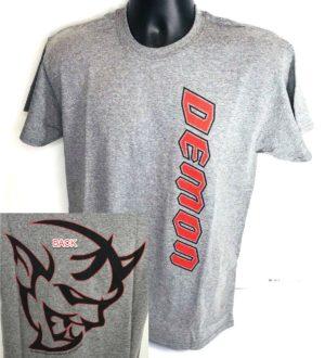 Gray T-Shirt w/ Red Dodge Demon Emblem / Logo (Licensed)