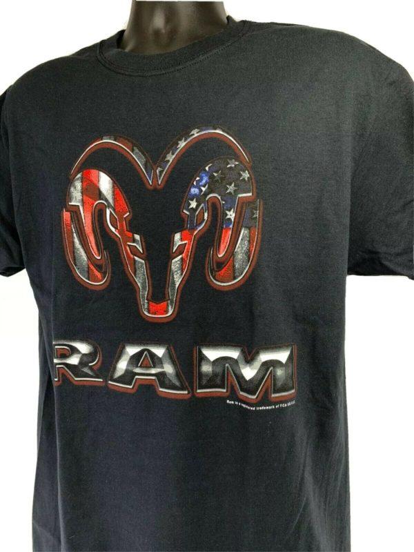 Black T-Shirt w/ Red White & Blue American Flag Dodge Ram Truck Emblem