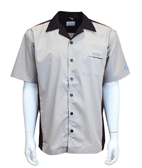 Mechanic Style Button Up Shirt - Gray & Black w/ Ford Performance Emblem / Logo