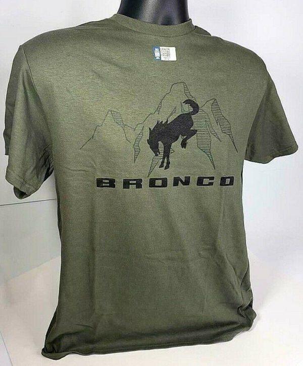 New 2021 Ford Bronco T-Shirt - Green w/ Black Logo Mountain Scene
