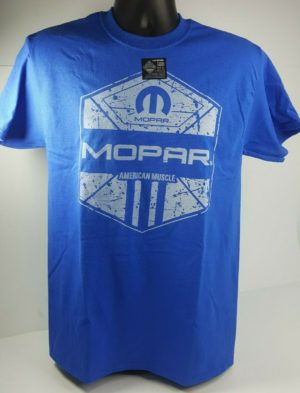 Blue T-Shirt - Mopar American Muscle w/ Blue M Logo / Emblem (Licensed)