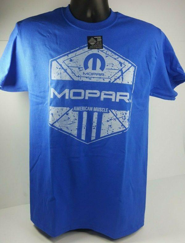 Blue T-Shirt - Mopar American Muscle w/ Blue M Logo / Emblem (Licensed)