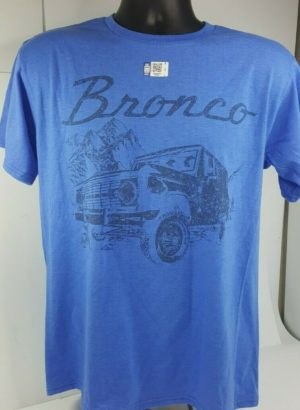 Ford Bronco T-Shirt - Heather Blue w/ 1st Generation 1966-1977 Emblem / Logo