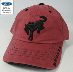 New 2021 Ford Bronco Hat - Brick Red w/ Embroidered Black Emblem & Script