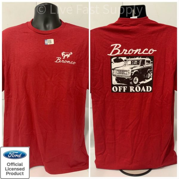 Ford Bronco T-Shirt - Red w/ 1st Generation 1966-1977 Off Road Emblem / Logo