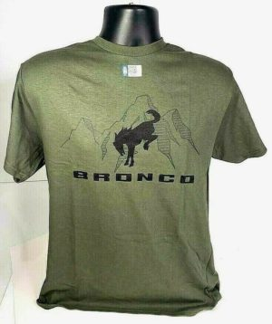 New 2021 Ford Bronco T-Shirt - Green w/ Black Logo Mountain Scene
