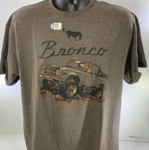 Ford Bronco T-Shirt - Heather Brown w/ 1st Generation 1966-1977 Logo / Emblem (Licensed)