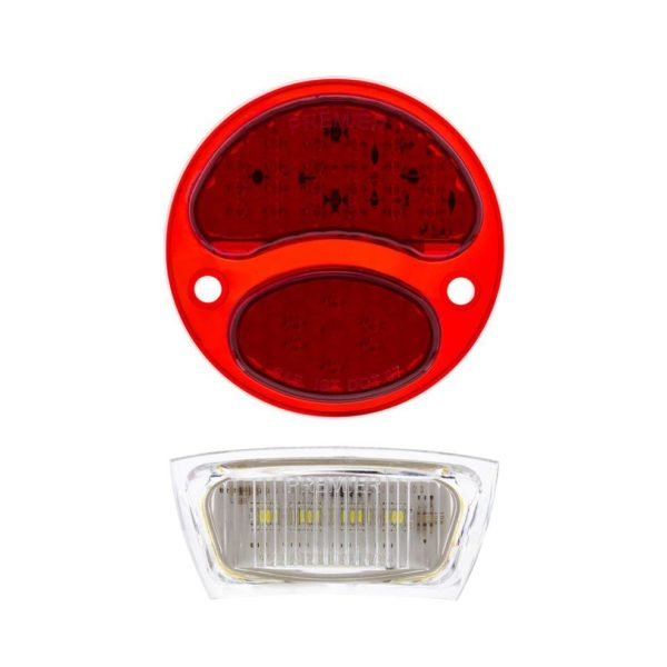 31 LED Red Sequential Tail Light w/LED License Plate Light, L/H For 1928-31 Ford Car