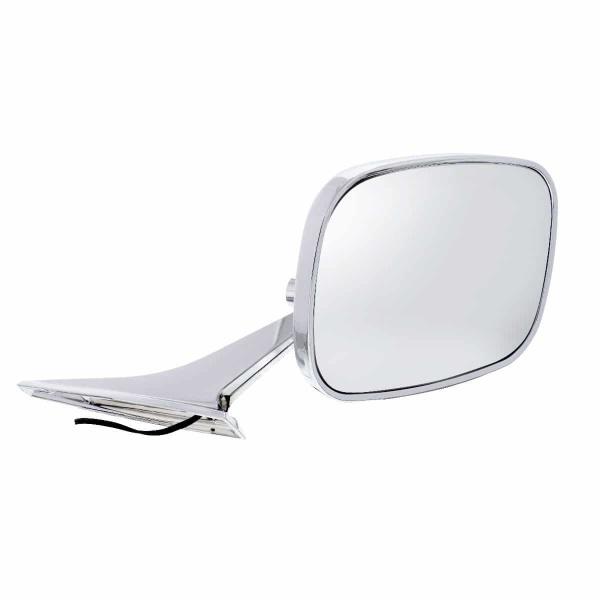Rectangular Exterior Mirror w/Convex Glass & LED Turn Signal For 1968-72 Chevy Car - R/H