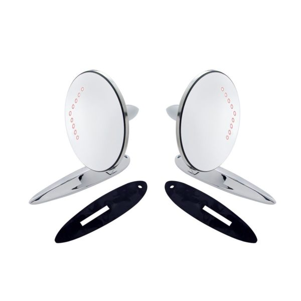 Exterior Mirror Bundle w/LED Turn Signal for 1955-57 Chevy Passenger Car