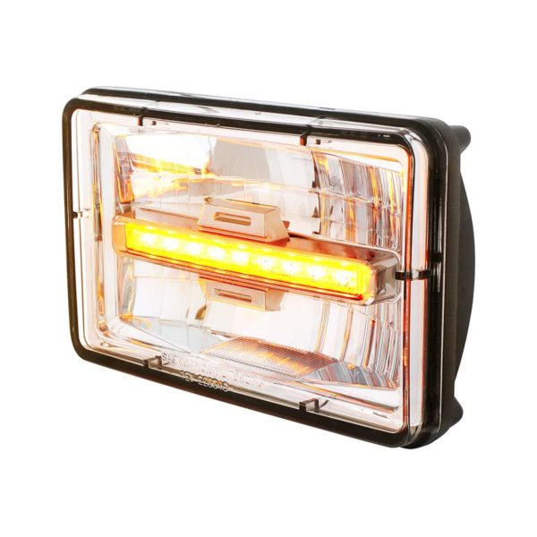 """4"""" X 6"""" Rectangular LED Headlight With Amber Auxiliary Light - Low Beam"""