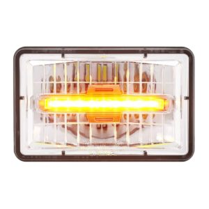 "4"" X 6"" Rectangular LED Headlight With Amber Auxiliary Light - High Beam"