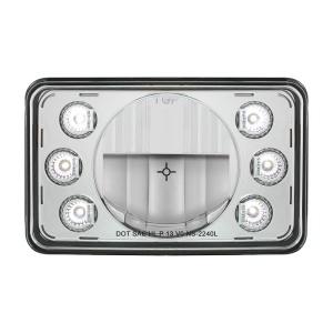 "4"" X 6"" Rectangular LED Crystal Headlight With 6 White LED Position Light - Low Beam"