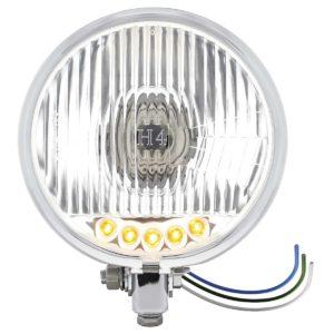 "Chrome 5-3/4"" Motorcycle Headlight H4 Bulb w/ 5 Amber LED - Bottom Mount"