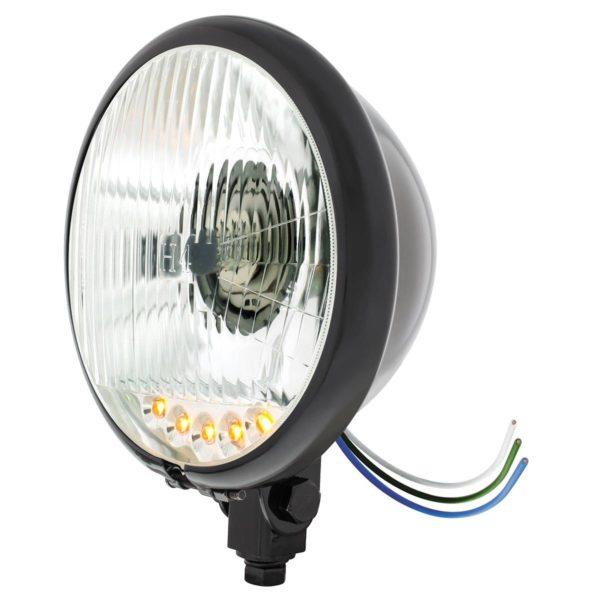 "Black 5-3/4"" Motorcycle Headlight H4 Bulb w/ 5 Amber LED - Bottom Mount"