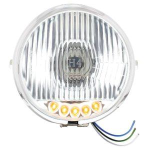 "Chrome 5-3/4"" Motorcycle Headlight H4 Bulb w/ 5 Amber LED - Side Mount"