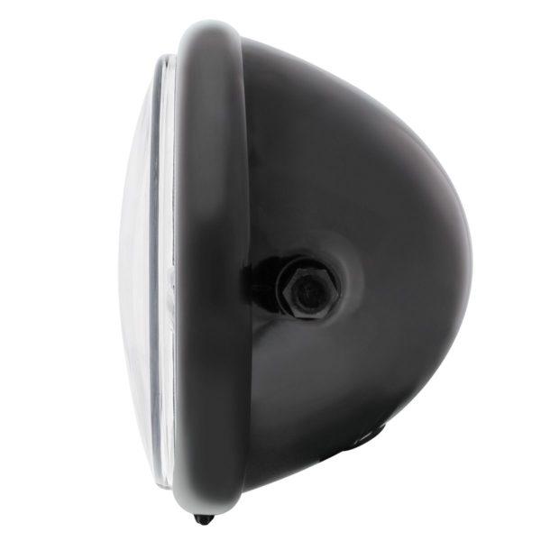 "Black 5-3/4"" Motorcycle Headlight H4 Bulb w/ 5 Amber LED - Side Mount"