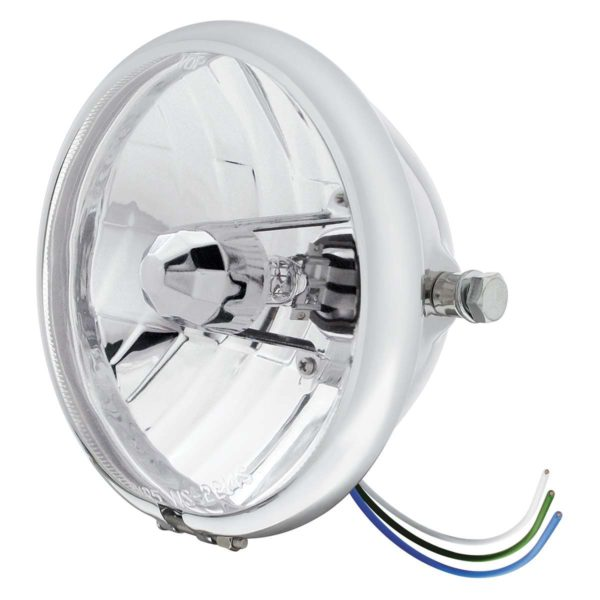"Chrome 5-3/4"" Motorcycle Headlight Crystal H4 Bulb - Side Mount"