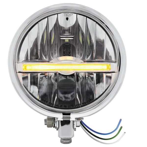 "Chrome 5-3/4"" Motorcycle Headlight 9 LED Bulb w/ Amber LED Light Bar - Bottom Mount"