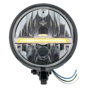 "Black 5-3/4"" Motorcycle Headlight 9 LED Bulb w/ Amber LED Light Bar - Bottom Mount"
