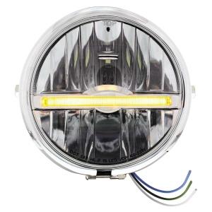 "Chrome 5-3/4"" Motorcycle Headlight 9 LED Bulb w/ Amber LED Light Bar - Side Mount"