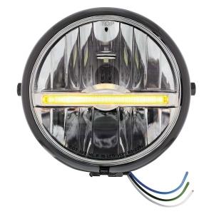 "Black 5-3/4"" Motorcycle Headlight 9 LED Bulb w/ Amber LED Light Bar - Side Mount"